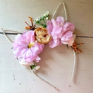 Other - Bunny Ear Headband with Flowers for Girls.